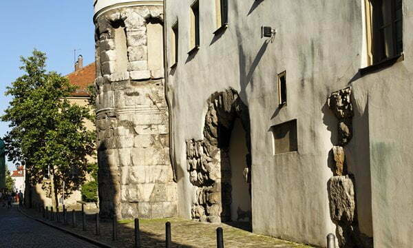 Remains of one of the few surviving Roman gates north of the Alps, the Porta Praetoria in Regensburg, Germany.