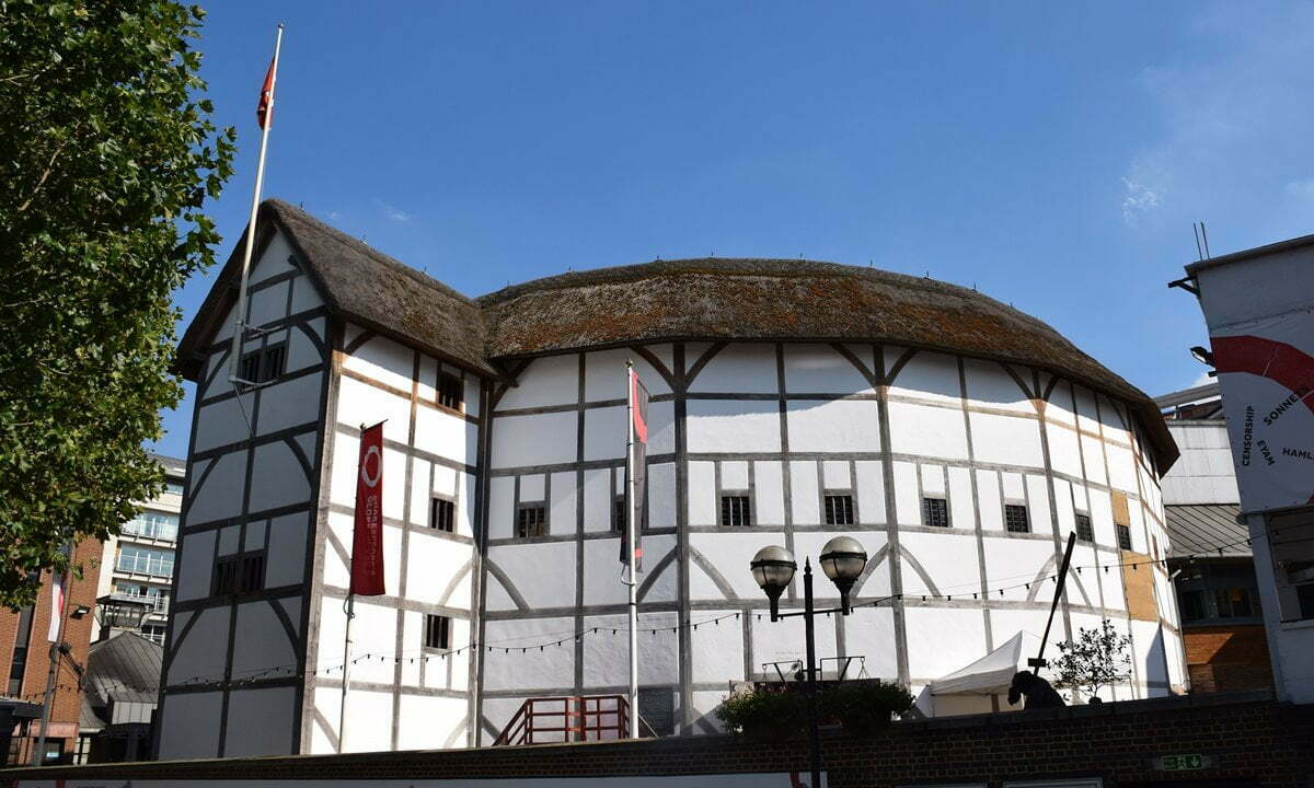 Reconstruction of Shakespeare's Globe Theatre in London, England.
